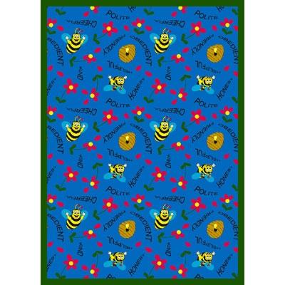 Bee Attitudes Rug - Blue