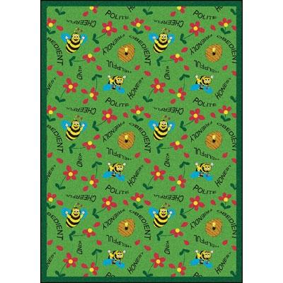 Bee Attitudes Rug - Green