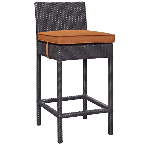 Convene Outdoor Patio Fabric Bar Stool - Espresso Orange