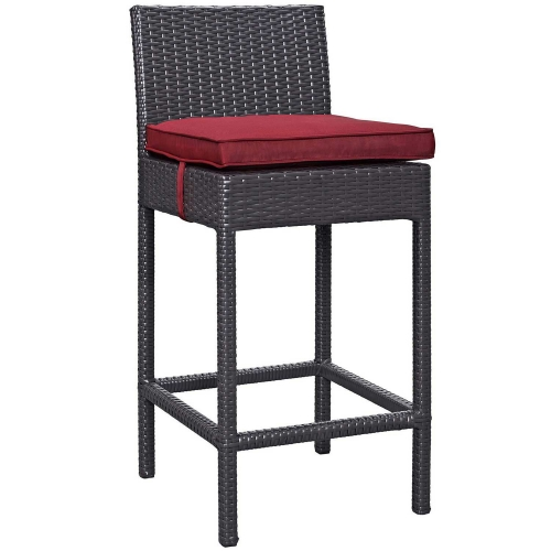 Convene Outdoor Patio Fabric Bar Stool - Espresso Red
