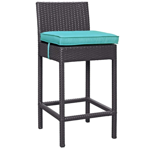Convene Outdoor Patio Fabric Bar Stool - Espresso Turquoise