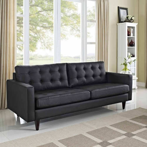 Empress Leather Sofa - Black