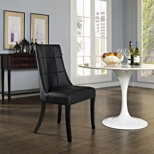 Noblesse Dining Vinyl Side Chair - Black