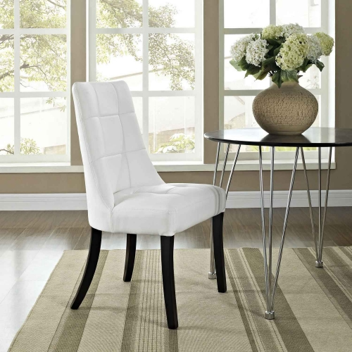 Noblesse Dining Vinyl Side Chair - White