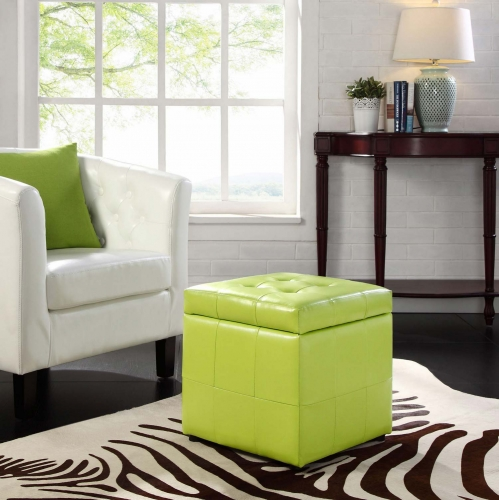 Volt Storage Ottoman - Light Green