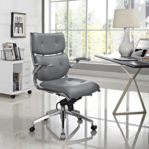 Push Mid Back Office Chair - Gray