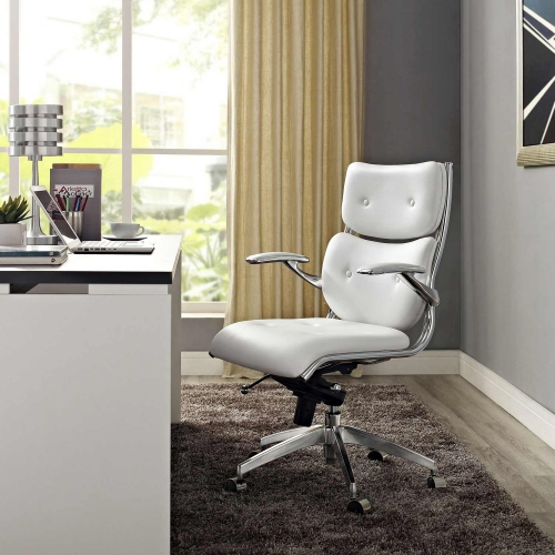 Push Mid Back Office Chair - White