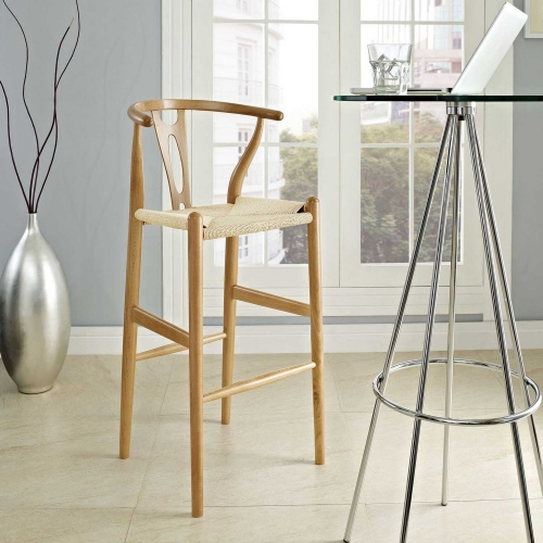 Amish Wood Bar Stool - Natural