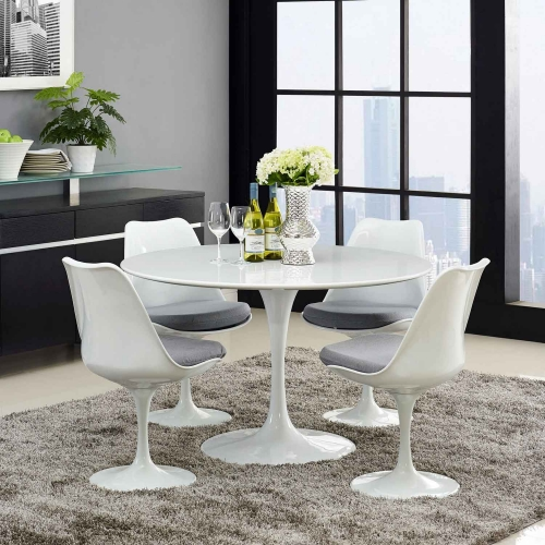 Lippa 47 Wood Top Dining Table - White