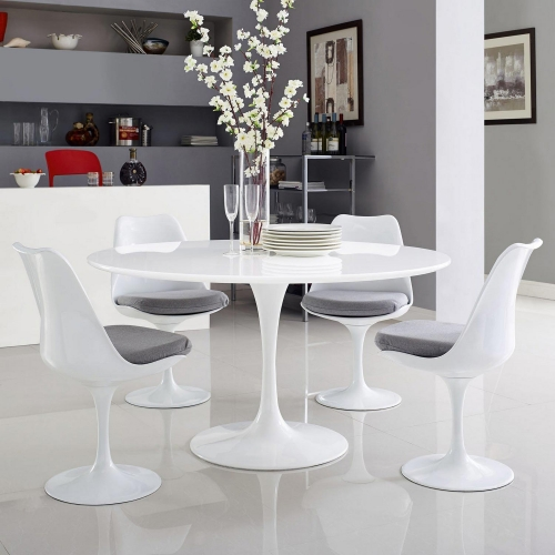 Lippa 54 Wood Top Dining Table - White