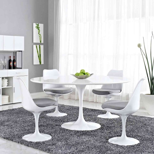 Lippa 60 Wood Top Dining Table - White