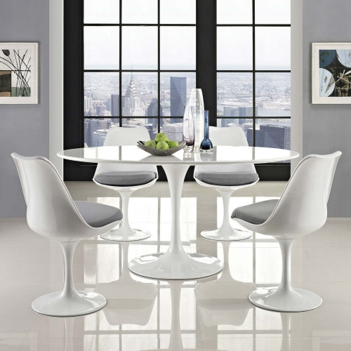Lippa 60 Oval-Shaped Wood Top Dining Table - White