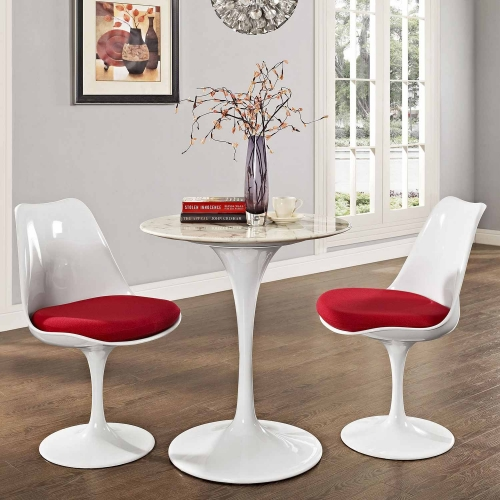 Lippa 28 Artificial Marble Side Table - White