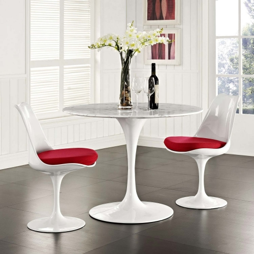 Lippa 40 Artificial Marble Dining Table - White