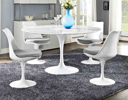 Lippa 54 Artificial Marble Dining Table - White