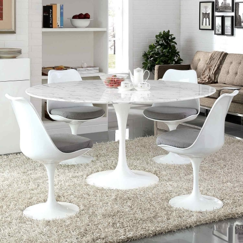 Lippa 60 Artificial Marble Dining Table - White