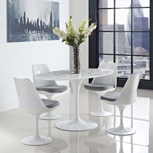 Lippa 60 Oval-Shaped Artificial Marble Dining Table - White