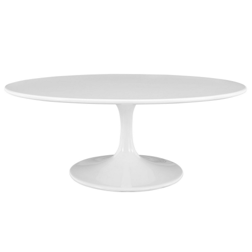 Lippa 42 Oval-Shaped Wood Top Coffee Table - White