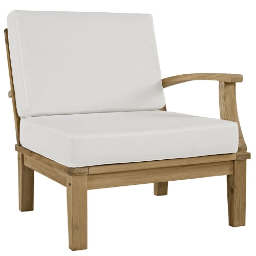 Marina Outdoor Patio Teak Left-Arm Sofa - Natural White