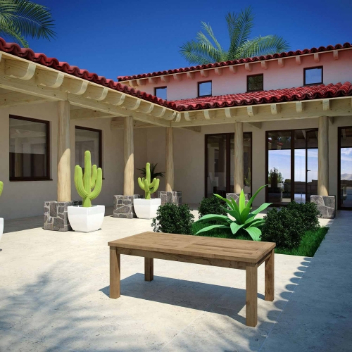 Marina Outdoor Patio Teak Rectangle Coffee Table - Natural