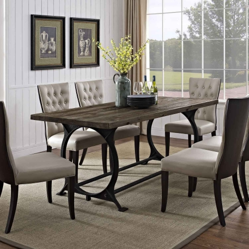 Effuse Wood Top Dining Table - Brown