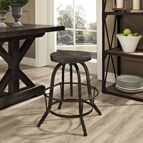 Collect Wood Top Bar Stool - Black