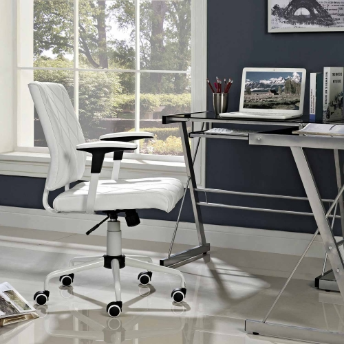 Lattice Vinyl Office Chair - White