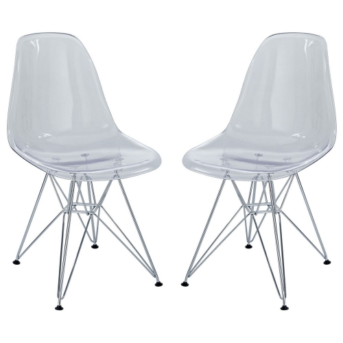 Paris Dining Side Chair Set of 2 - Clear