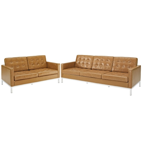 Loft Loveseat and Sofa Leather 2 Piece Set - Tan