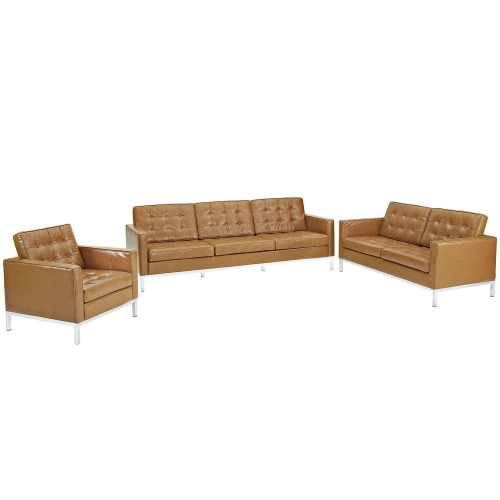 Loft Armchair Loveseat and Sofa Set Leather 3 Piece Set - Tan