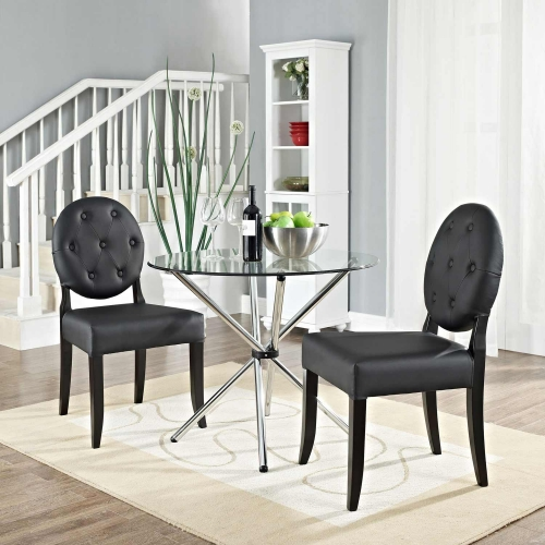 Button Dining Side Chair Set of 2 - Black