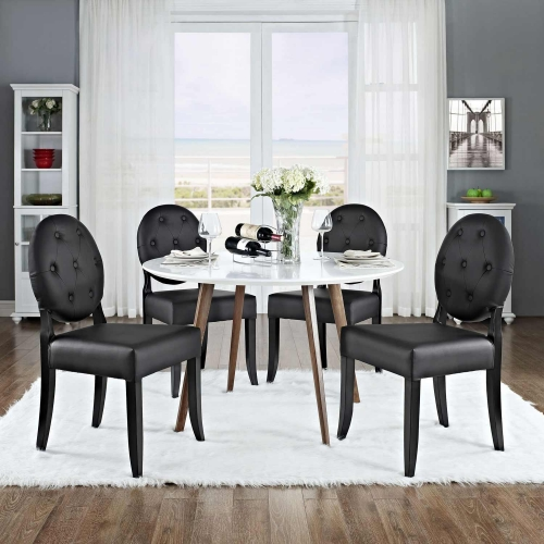 Button Dining Side Chair Set of 4 - Black