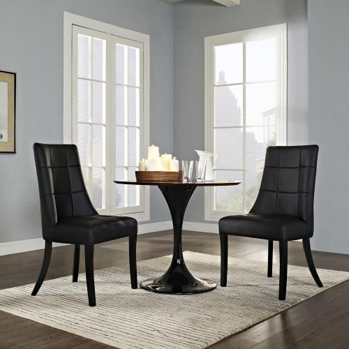 Noblesse Vinyl Dining Chair Set of 2 - Black