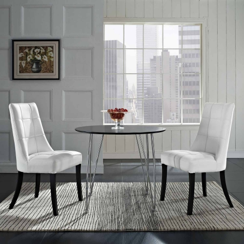 Noblesse Vinyl Dining Chair Set of 2 - White