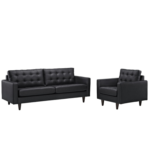 Empress 2PC Sofa and Armchair Set - Black
