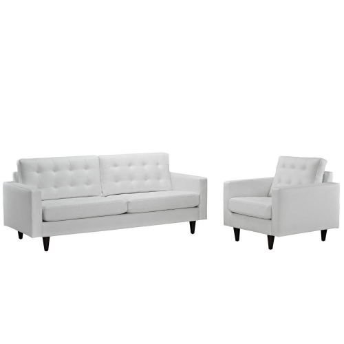 Empress 2PC Sofa and Armchair Set - White