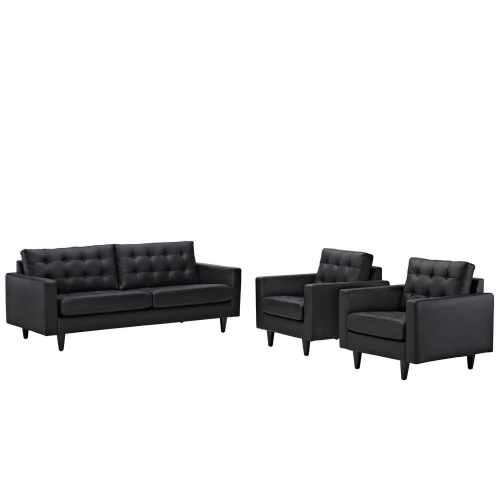 Empress 3PC Sofa and Armchairs Set- Black