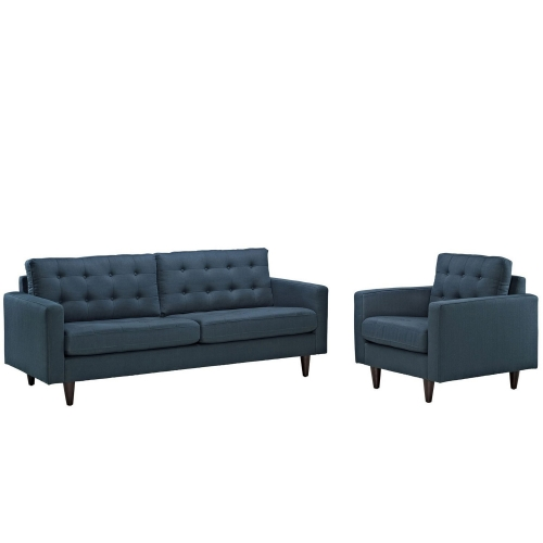Empress 2PC Armchair and Sofa Set - Azure