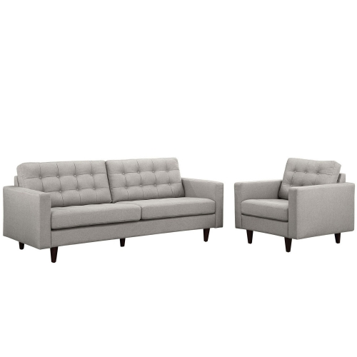 Empress 2PC Armchair and Sofa Set - Light Gray
