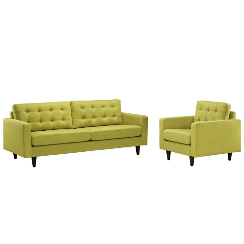 Empress 2PC Armchair and Sofa Set - Wheatgrass