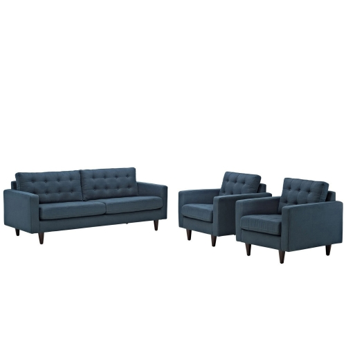 Empress 3PC Sofa and Armchairs Set - Azure