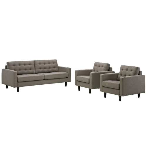 Empress 3PC Sofa and Armchairs Set - Granite