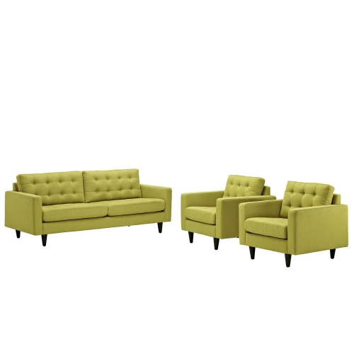 Empress 3PC Sofa and Armchairs Set - Wheatgrass