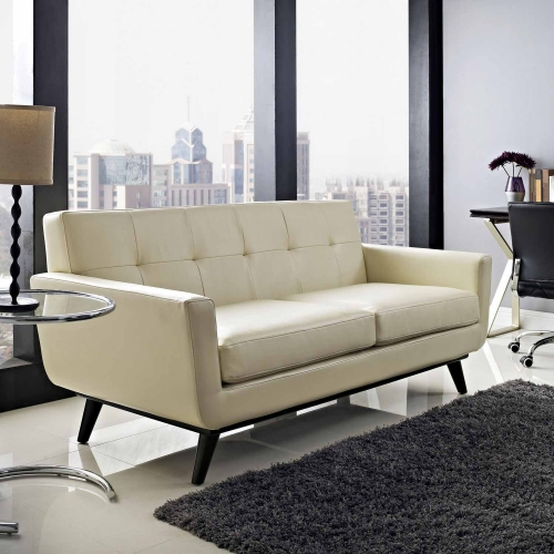 Engage Bonded Leather Loveseat - Beige