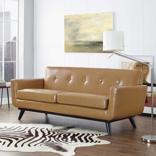 Engage Bonded Leather Loveseat - Tan