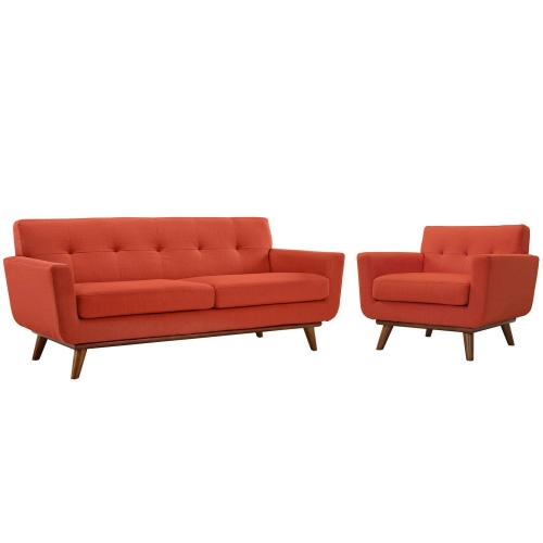 Engage Armchair and Loveseat Set of 2 - Atomic Red