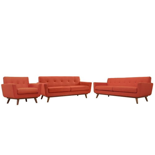 Engage 3 PC Sofa Loveseat and Armchair Set - Atomic Red
