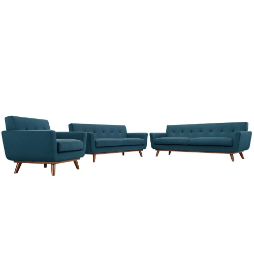 Engage 3 PC Sofa Loveseat and Armchair Set - Azure