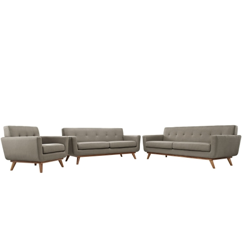 Engage 3 PC Sofa Loveseat and Armchair Set - Granite