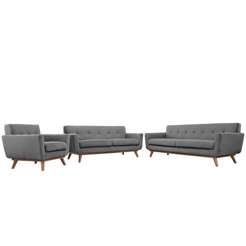 Engage 3 PC Sofa Loveseat and Armchair Set - Gray